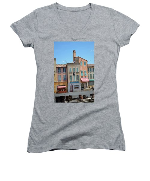 Women's V-Neck T-Shirt (Junior Cut) featuring the photograph Freefall by Robert Meanor
