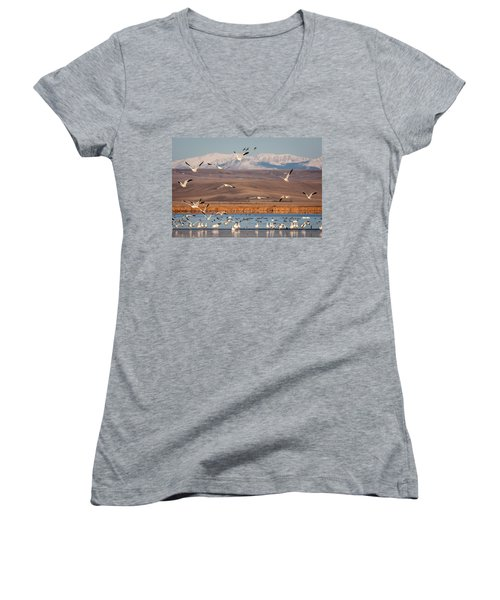 Women's V-Neck T-Shirt (Junior Cut) featuring the photograph Freeze Out Lake Morning by Jack Bell