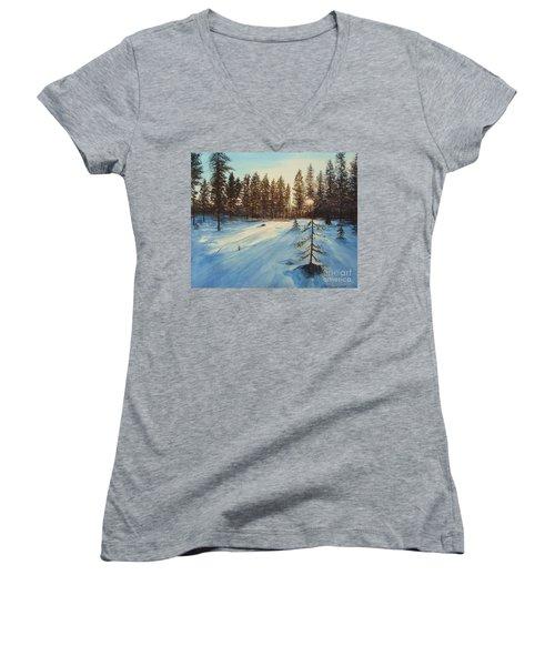 Freezing Forest Women's V-Neck T-Shirt (Junior Cut) by Martin Howard