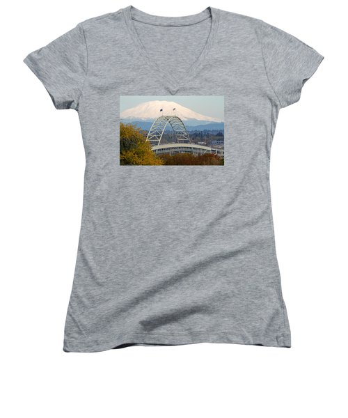 Fremont Bridge And Mount Saint Helens Women's V-Neck T-Shirt
