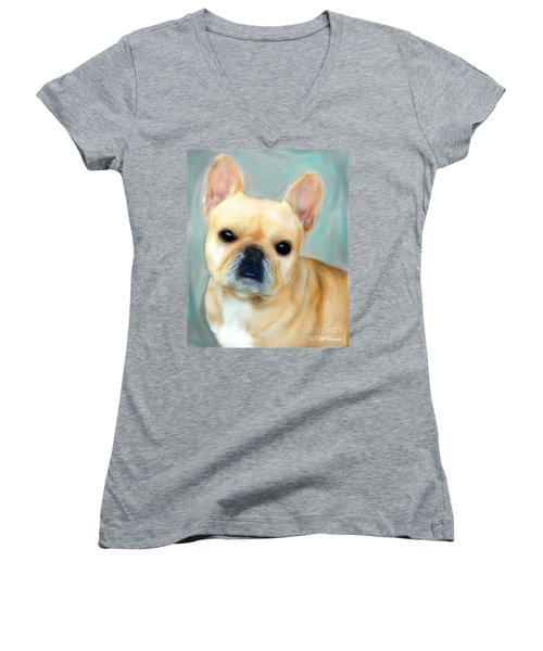 Women's V-Neck T-Shirt (Junior Cut) featuring the painting French Bulldog Mystique D'or by Barbara Chichester