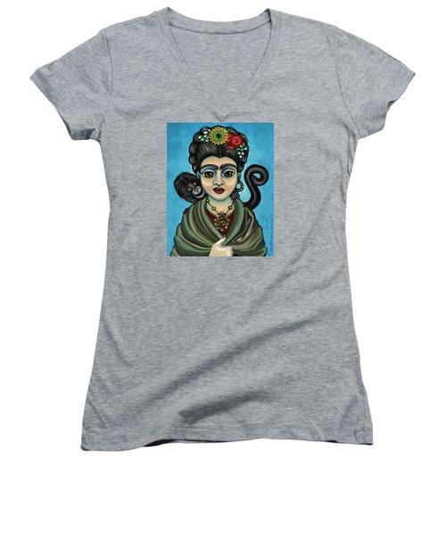 Frida's Monkey Women's V-Neck