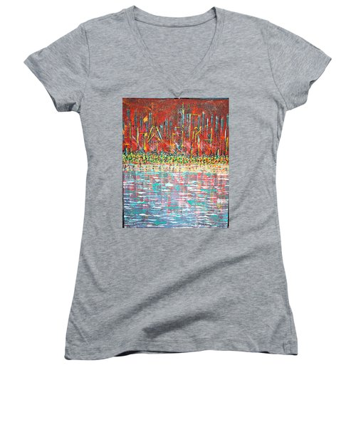 Friday At The Beach - Sold Women's V-Neck T-Shirt (Junior Cut) by George Riney
