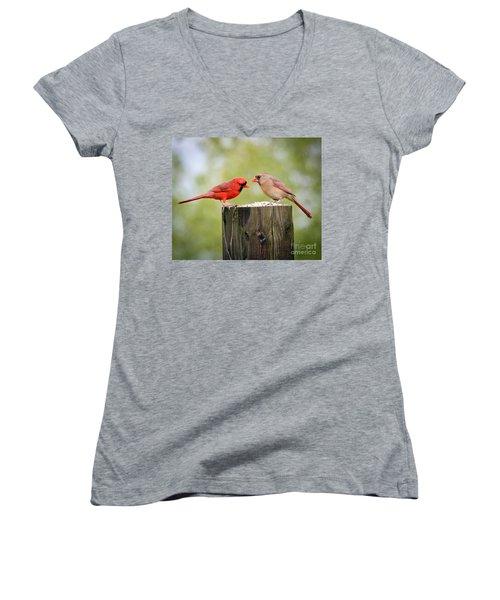 Women's V-Neck T-Shirt (Junior Cut) featuring the photograph Friends In The Rain  by Kerri Farley
