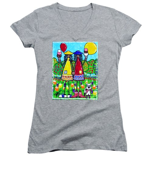 Women's V-Neck T-Shirt (Junior Cut) featuring the painting Friends by Jackie Carpenter