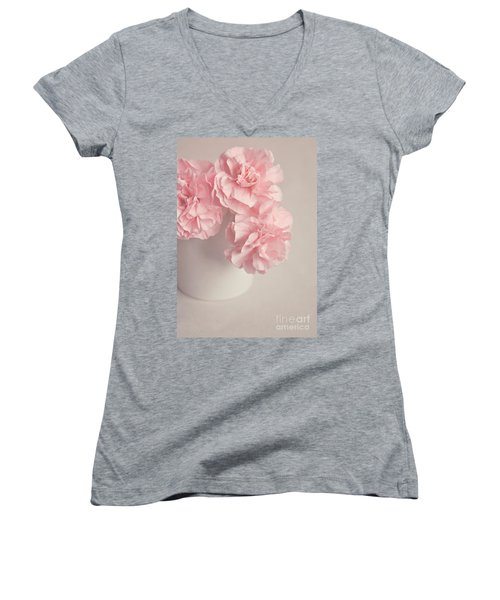 Frilly Pink Carnations Women's V-Neck (Athletic Fit)