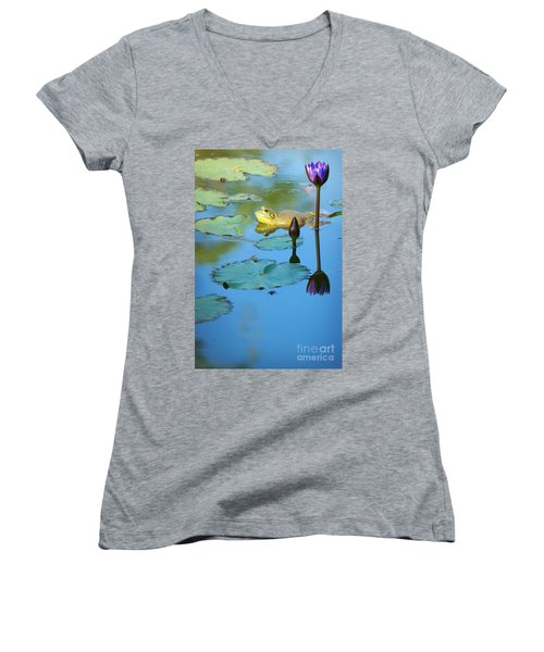 Women's V-Neck T-Shirt (Junior Cut) featuring the photograph Frog And Lily by Ellen Cotton