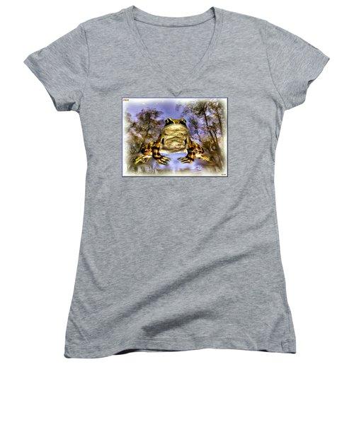 Women's V-Neck T-Shirt (Junior Cut) featuring the digital art Frog by Daniel Janda