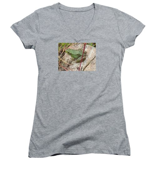 Women's V-Neck T-Shirt (Junior Cut) featuring the photograph Frog by Robert Nickologianis