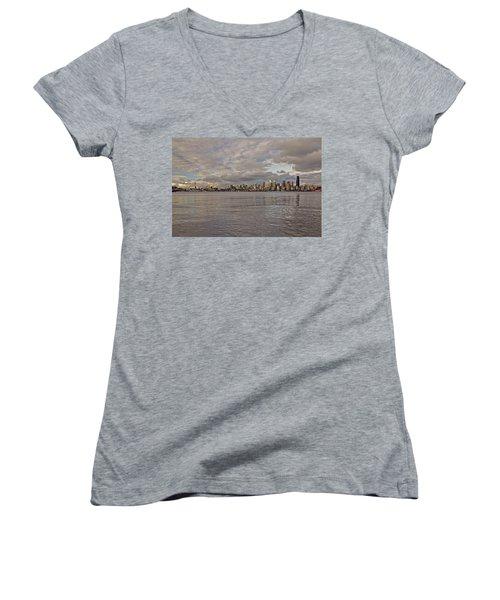 from Alki Beach Seattle skyline Women's V-Neck