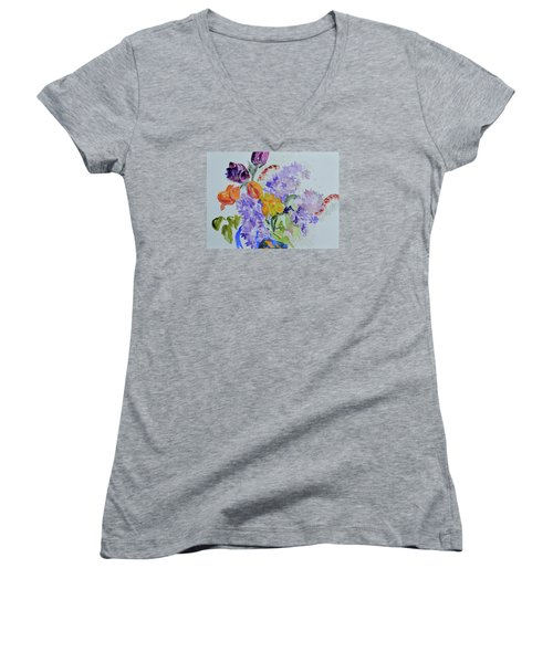 Women's V-Neck T-Shirt (Junior Cut) featuring the painting From Grammy's Garden by Beverley Harper Tinsley