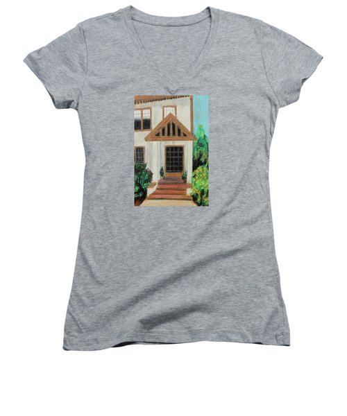 Women's V-Neck T-Shirt (Junior Cut) featuring the painting Front Door 1 by Jeanne Fischer