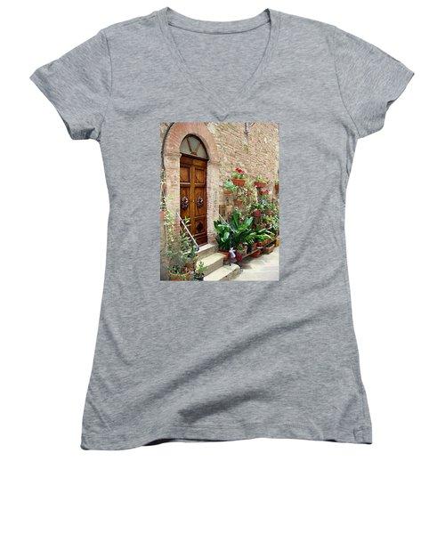 Front Door Women's V-Neck T-Shirt (Junior Cut) by Ellen Henneke