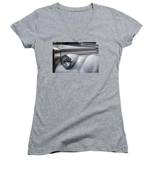 Women's V-Neck T-Shirt (Junior Cut) featuring the photograph Front Of A Rolls Royce by Gunter Nezhoda