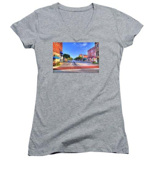 Front Street Marietta Women's V-Neck T-Shirt (Junior Cut) by Jonny D