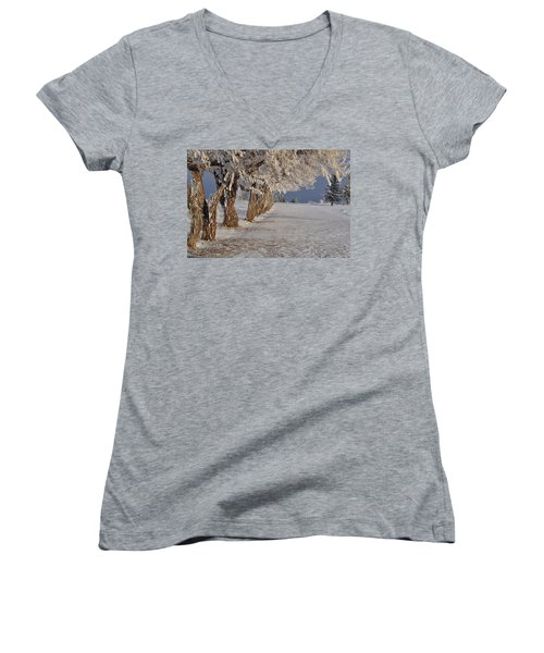 Women's V-Neck T-Shirt (Junior Cut) featuring the photograph Frosted Trees by Fran Riley