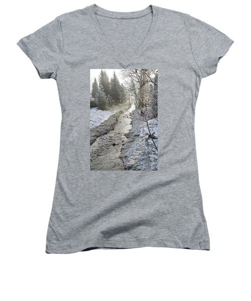 Women's V-Neck T-Shirt (Junior Cut) featuring the painting Frozen Air by Felicia Tica