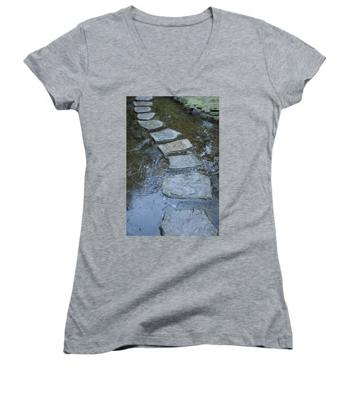 Women's V-Neck featuring the photograph Slippery Stone Path by Roxy Hurtubise