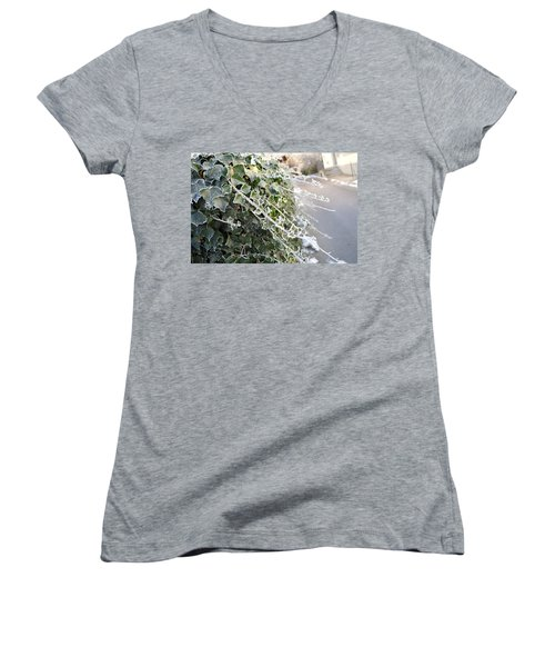Women's V-Neck T-Shirt (Junior Cut) featuring the painting Frozen Hedera Helix by Felicia Tica