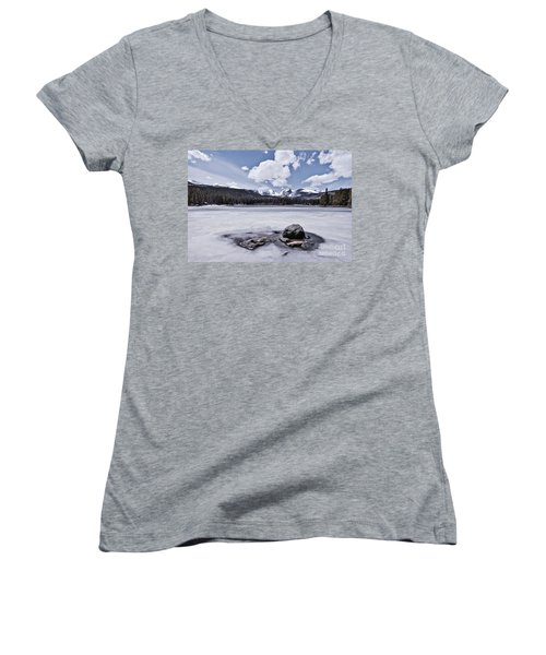 Women's V-Neck featuring the photograph Frozen Lake by Mae Wertz