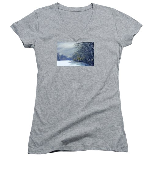 Frozen Pond Women's V-Neck T-Shirt (Junior Cut) by John Rivera