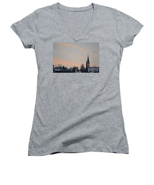 Women's V-Neck T-Shirt (Junior Cut) featuring the photograph Frozen Sky 2 by Felicia Tica