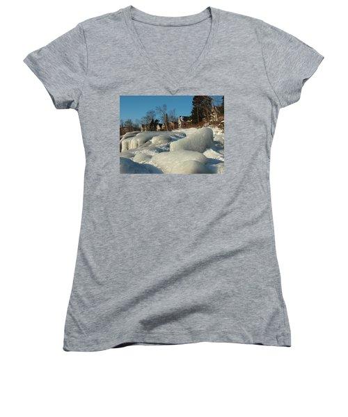 Women's V-Neck T-Shirt (Junior Cut) featuring the photograph Frozen Surf by James Peterson