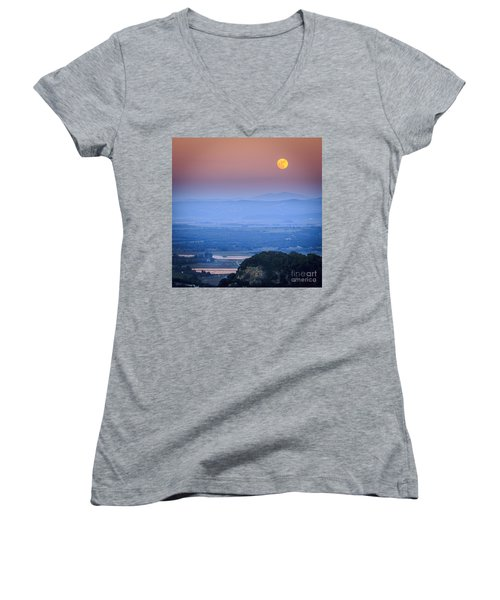 Full Moon Over Vejer Cadiz Spain Women's V-Neck (Athletic Fit)