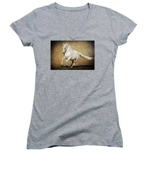 Full Steam Ahead Women's V-Neck T-Shirt (Junior Cut) by Wes and Dotty Weber