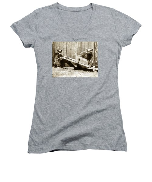 Women's V-Neck T-Shirt (Junior Cut) featuring the photograph Fun With Cats Henry King Nourse Photographer Circa 1900 by California Views Mr Pat Hathaway Archives