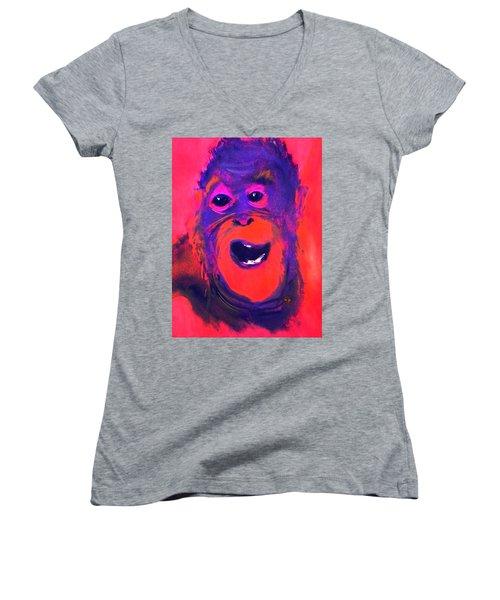 Funky Monkey Happy Chappy Women's V-Neck T-Shirt