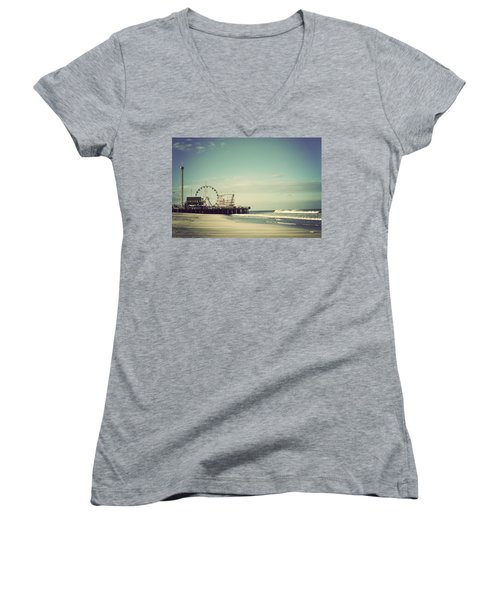 Funtown Pier Seaside Heights New Jersey Vintage Women's V-Neck T-Shirt (Junior Cut) by Terry DeLuco