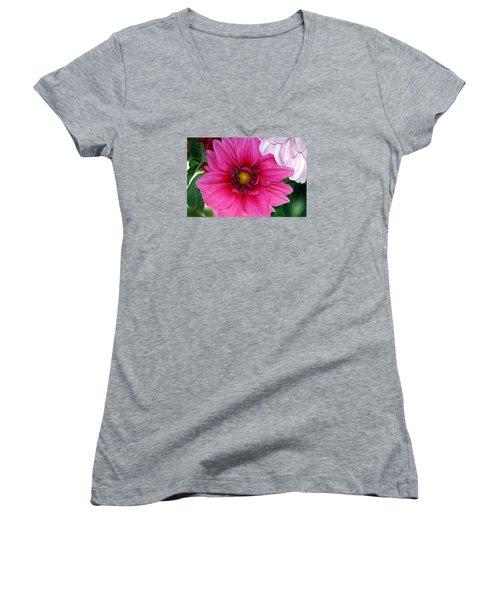 Fushia Pink Dahlia Women's V-Neck T-Shirt (Junior Cut) by Lehua Pekelo-Stearns