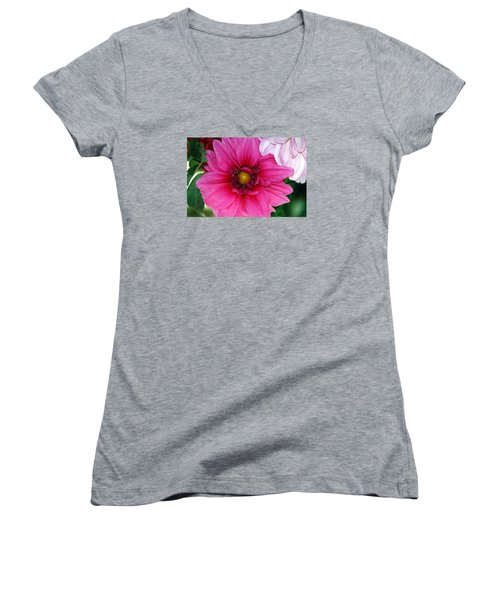 Fushia Pink Dahlia Women's V-Neck T-Shirt