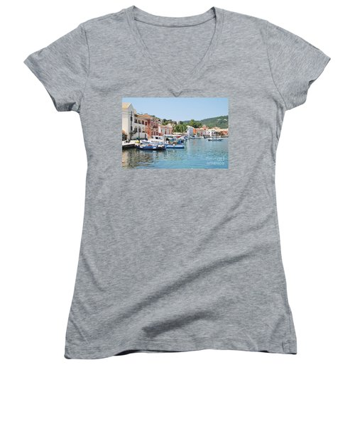 Gaios Harbour On Paxos Women's V-Neck T-Shirt
