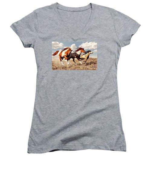 Galloping Mustangs Women's V-Neck