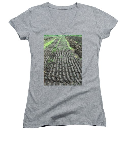 Women's V-Neck T-Shirt (Junior Cut) featuring the photograph Garden Of Peat by Brenda Brown