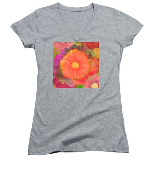 Garden Party IIi Women's V-Neck T-Shirt (Junior Cut) by Christine Fournier