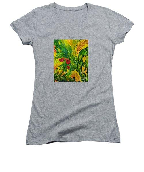 Garden Series No.2 Women's V-Neck T-Shirt (Junior Cut) by Teresa Wegrzyn