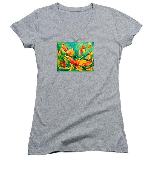 Garden Series No.3 Women's V-Neck T-Shirt (Junior Cut) by Teresa Wegrzyn