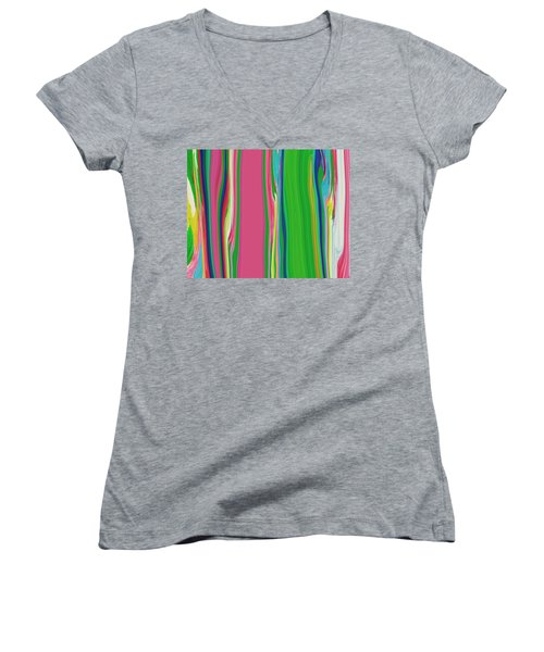 Women's V-Neck T-Shirt (Junior Cut) featuring the painting Garden Stripes  C2014 by Paul Ashby