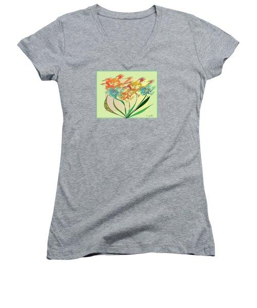 Garden Wonder Women's V-Neck T-Shirt (Junior Cut) by Iris Gelbart