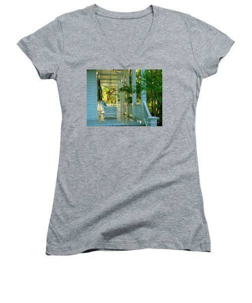 Gardens Porch In Key West Women's V-Neck T-Shirt (Junior Cut) by David  Van Hulst