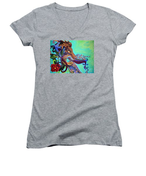 Gargoyle Lion 3 Women's V-Neck T-Shirt (Junior Cut) by Genevieve Esson