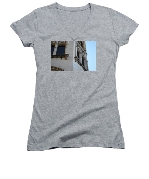 Women's V-Neck T-Shirt (Junior Cut) featuring the photograph Gargoyles by Shawn Marlow