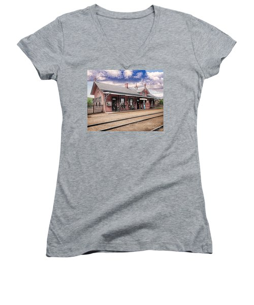 Garrison Train Station Colorized Women's V-Neck T-Shirt