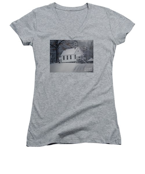 Women's V-Neck T-Shirt (Junior Cut) featuring the painting Gates Chapel - Ellijay - Signed By Artist by Jan Dappen