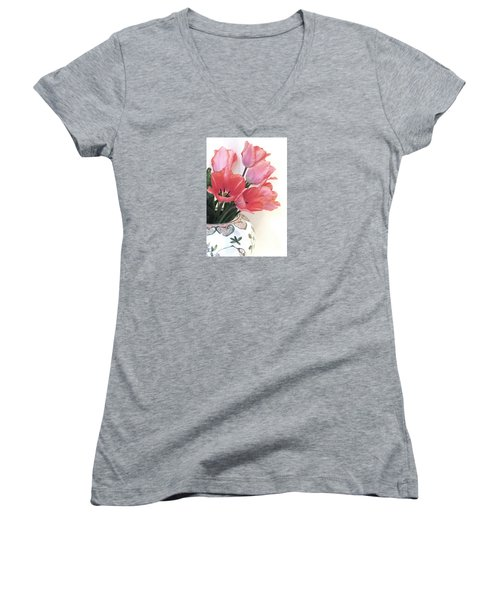 Gathered Tulips Women's V-Neck