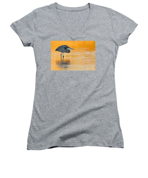 Women's V-Neck T-Shirt (Junior Cut) featuring the photograph Gbh In Orange Water by Bryan Keil