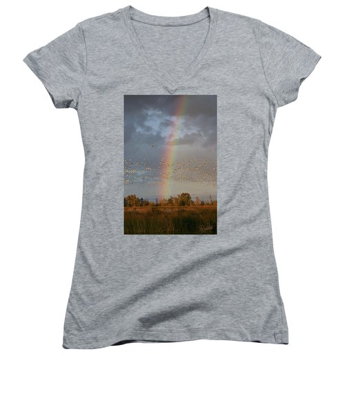 Geese And Rainbow Women's V-Neck
